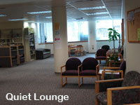 Image of the Art Lounge on the second floor of the Holland/Terrell Libraries.